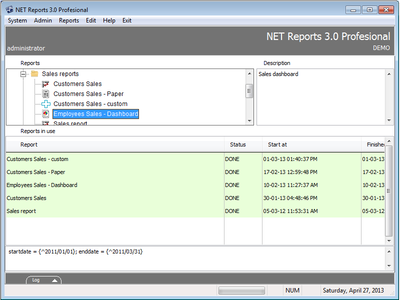 Click to view NET Reports 3.0 screenshot